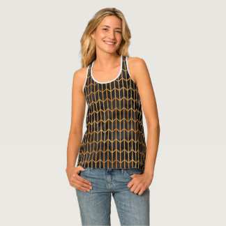 Black and Gold Abstract Pattern Singlet