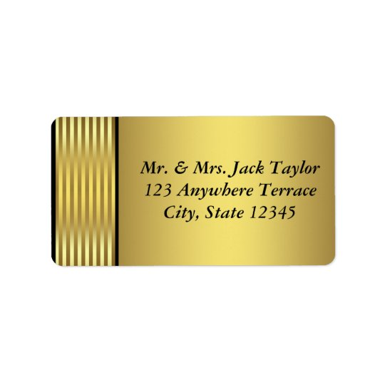 Black and Gold Address Label