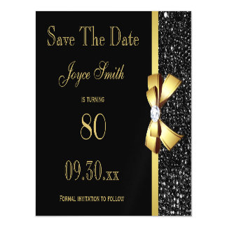 Black and Gold Any Age Birthday Save The Date Magnetic Card