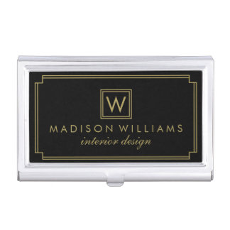 Black and Gold Art Deco Monogram Business Card Holder