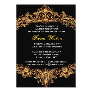 Black and Gold Baroque Ladies Night Out 13 Cm X 18 Cm Invitation Card