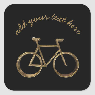Black and Gold Bike Bicycle Cycling Cyclist Square Sticker