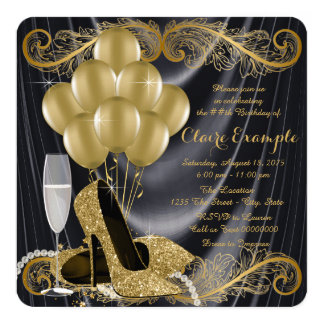 "Black and Gold Birthday Party Glamour Art Deco 5.25"" Square Invitation Card"