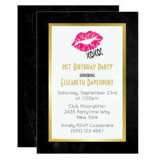 Black and Gold Birthday with Pink Kissy Lips Card