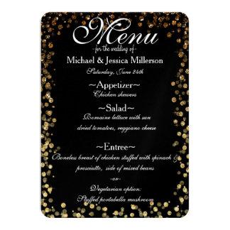 Black and Gold Bokeh Print Wedding Menu 11 Cm X 16 Cm Invitation Card