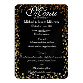 Black and Gold Bokeh Print Wedding Menu Card