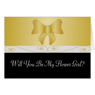 Black And Gold Bow Flower Girl Request Card