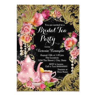 Black and Gold Bridal Tea Party Card