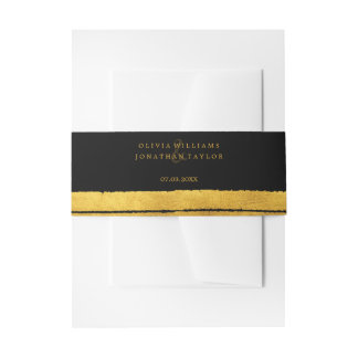 Black and Gold Brush Stroke Belly Band Invitation Belly Band