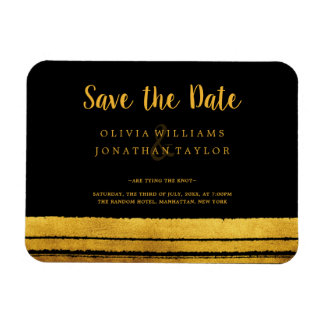 Black and Gold Brush Stroke Save The Date Magnet