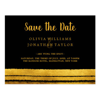 Black and Gold Brush Stroke Save The Date Postard Postcard