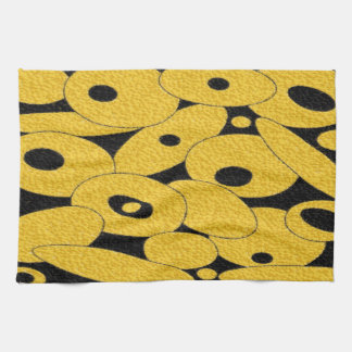 Black and Gold Bubble Orbs kitchen towel
