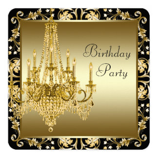 "Black and Gold Chandelier Birthday Party 5.25"" Square Invitation Card"
