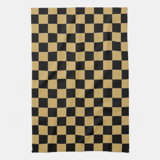 Black and Gold Checkered Tea Towel