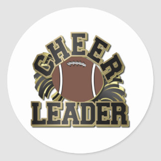 Black and Gold Cheer Leader with Football and Poms Classic Round Sticker