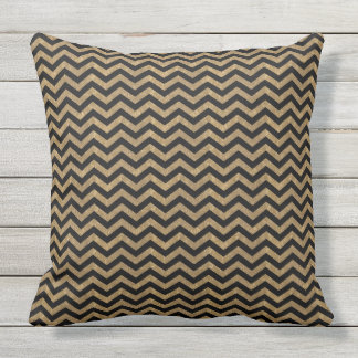 Black and Gold Chevron Outdoor Cushion