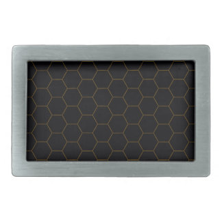 Black and Gold Chicken Wire Hexagon Pattern Design Belt Buckles