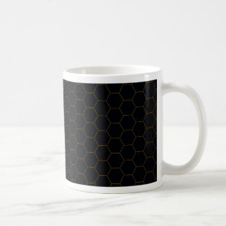 Black and Gold Chicken Wire Hexagon Pattern Design Coffee Mug