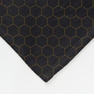Black and Gold Chicken Wire Hexagon Pattern Design Fleece Blanket
