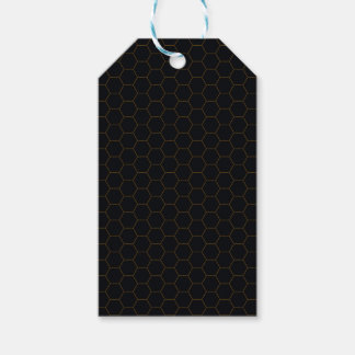 Black and Gold Chicken Wire Hexagon Pattern Design Gift Tags