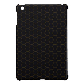 Black and Gold Chicken Wire Hexagon Pattern Design iPad Mini Covers