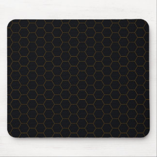 Black and Gold Chicken Wire Hexagon Pattern Design Mouse Pad