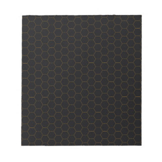 Black and Gold Chicken Wire Hexagon Pattern Design Notepad
