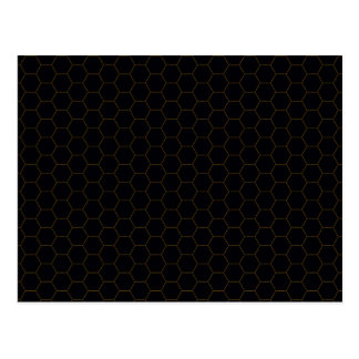 Black and Gold Chicken Wire Hexagon Pattern Design Postcard