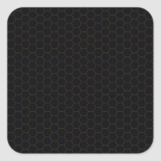 Black and Gold Chicken Wire Hexagon Pattern Design Square Sticker