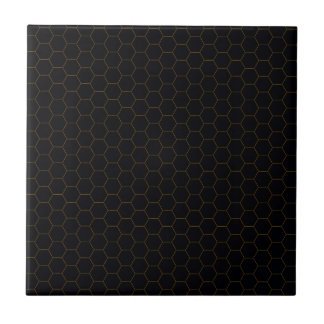 Black and Gold Chicken Wire Hexagon Pattern Design Tile