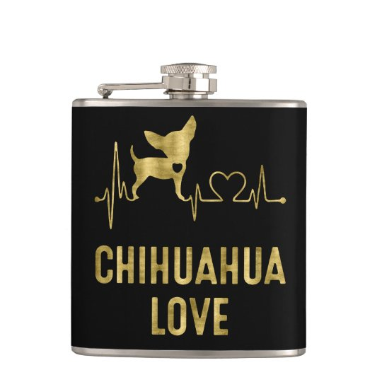Black And Gold Chihuahua Love Vinyl Flask 6oz
