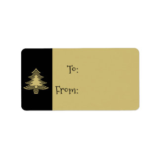 Black and Gold Christmas Tree Pattern Gift Tags