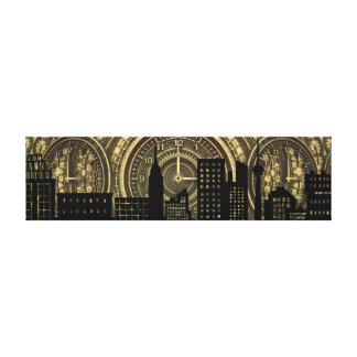 Black and Gold Cityscape Canvas Print