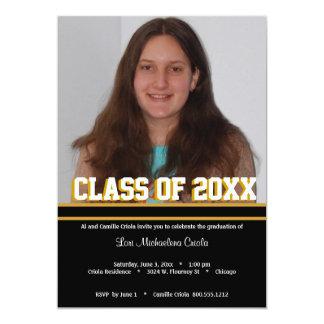 "Black and Gold Class Of Graduation Party  Invite 5"" X 7"" Invitation Card"