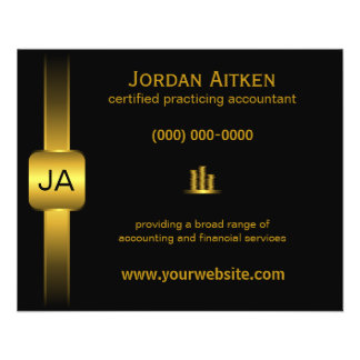 """Black and Gold Coins 4.5"""" x 5.6"""" Accountant Flyers"""