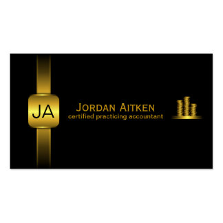 Black and Gold Coins Horizontal CPA Accountant Pack Of Standard Business Cards
