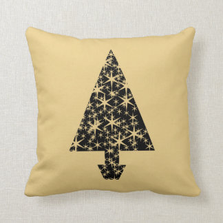 Black and Gold Color Christmas Tree Design. Throw Pillows