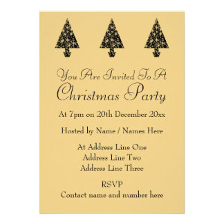 Black and Gold Color Christmas Tree Design. Announcement