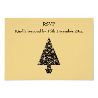 Black and Gold Color Christmas Tree Design. 9 Cm X 13 Cm Invitation Card