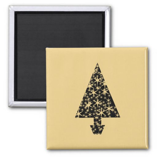 Black and Gold Color Christmas Tree Design. Magnets