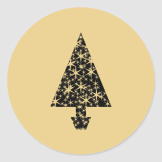 Black and Gold Color Christmas Tree Design. Stickers