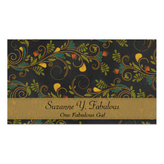 Black and Gold Colorful Flower Vines Business Card