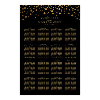 Black and Gold Confetti Dots  16 Seating Chart