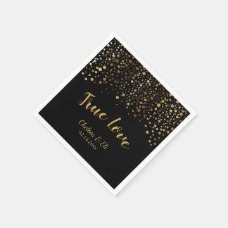 Black and Gold Confetti Dots Disposable Serviette