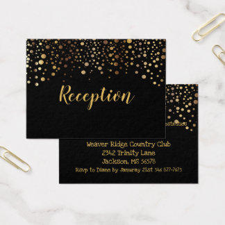 Black and Gold Confetti Dots - Reception Business Card