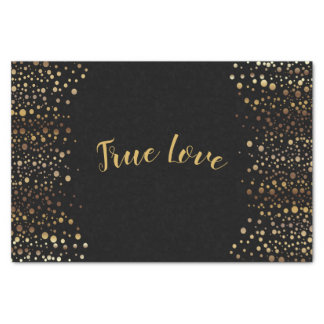 Black and Gold Confetti Dots Tissue Paper