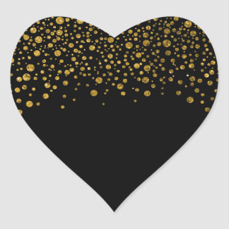 Black and Gold Confetti Heart Sticker