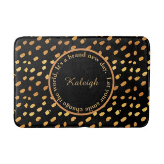 Black and Gold Confetti Inspirational Bath Mat