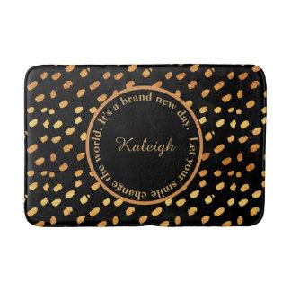 Black and Gold Confetti Inspirational Bath Mat Bath Mats
