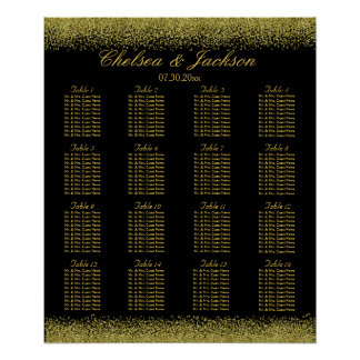 Black and Gold Confetti - Seating Chart Poster